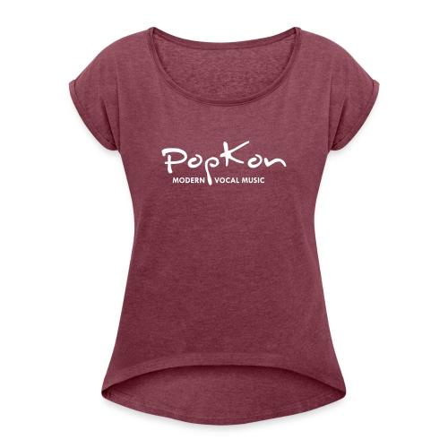 Logo und Schriftzug ohne Internetadresse weiß - Frauen T-Shirt mit gerollten Ärmeln