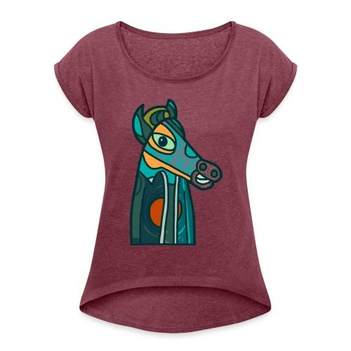 Horse - T-shirt med upprullade ärmar dam