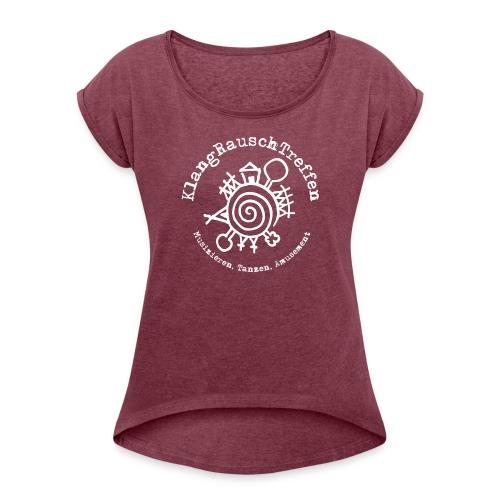 KlangRauschTreffen Logo mit Schrift rund - Frauen T-Shirt mit gerollten Ärmeln