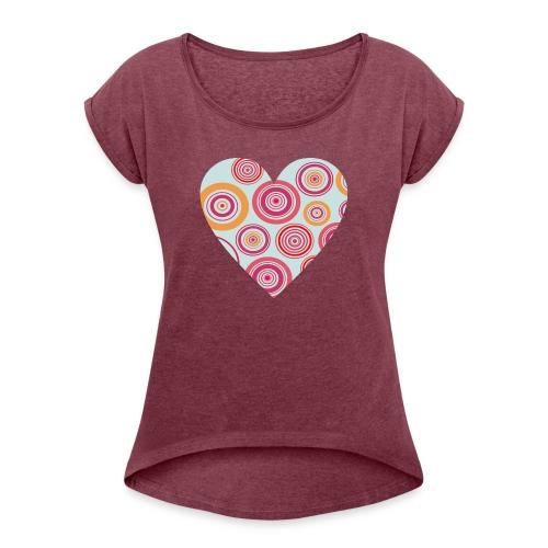 corazon1 - Camiseta con manga enrollada mujer