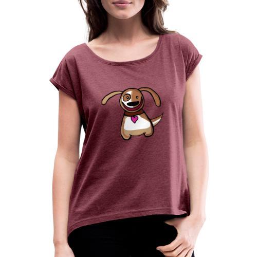 Titou le chien - T-shirt à manches retroussées Femme