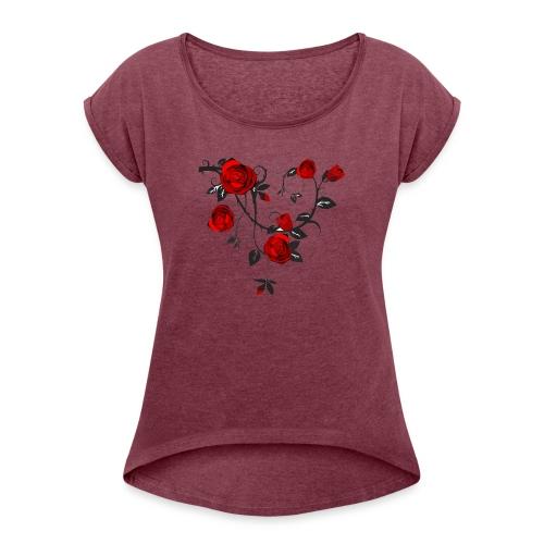 Rosenranken - Frauen T-Shirt mit gerollten Ärmeln
