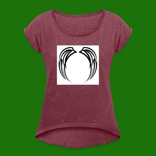 image - T-shirt med upprullade ärmar dam