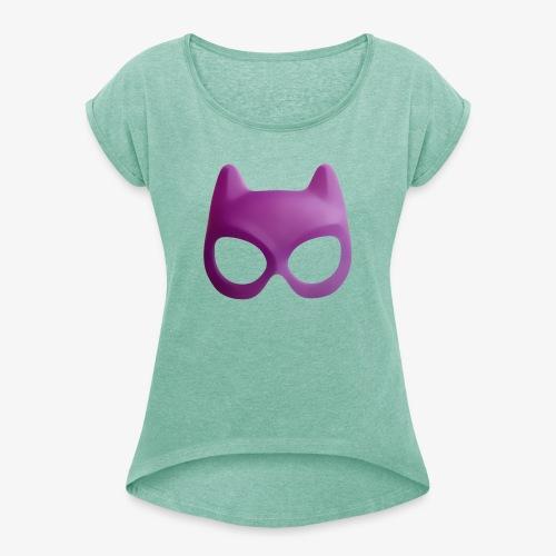 Bat Mask - Koszulka damska z lekko podwiniętymi rękawami