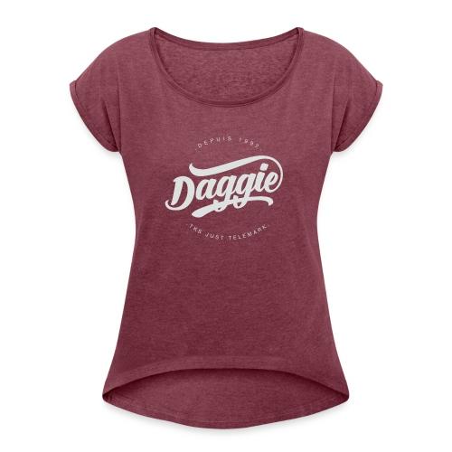 Daggies LOGO Serigraphie blanc - T-shirt à manches retroussées Femme