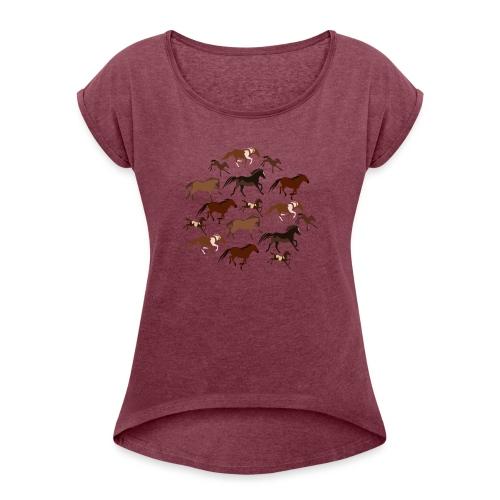 horses - Koszulka damska z lekko podwiniętymi rękawami