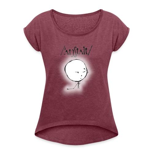 kreisling mit logo (schwarz) - Frauen T-Shirt mit gerollten Ärmeln