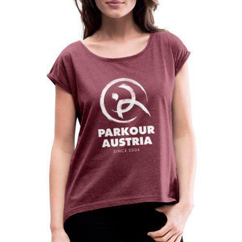 Parkour Austria (Logo & Schriftzug weiss) - Frauen T-Shirt mit gerollten Ärmeln
