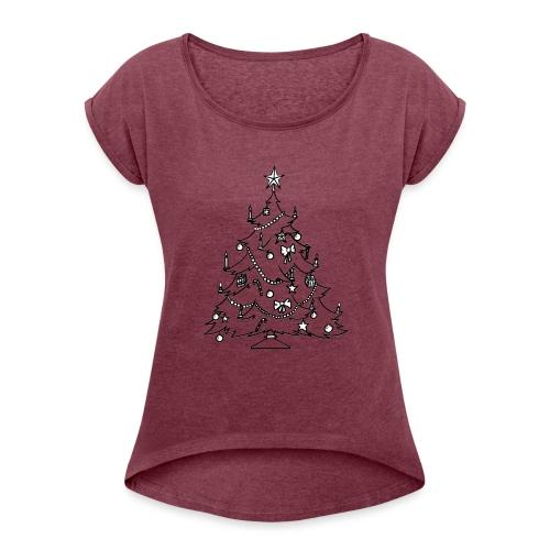 weinach baum - Frauen T-Shirt mit gerollten Ärmeln