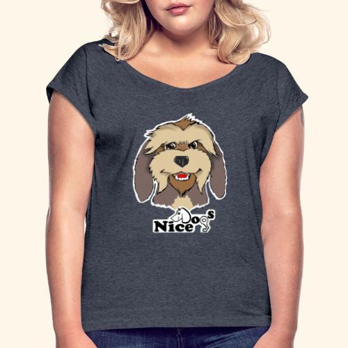 Nice Dogs Pastore Catalano - Maglietta da donna con risvolti