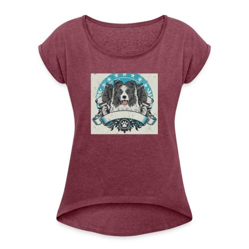 Deezylehund - Frauen T-Shirt mit gerollten Ärmeln