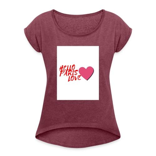 hello paris love rouge - T-shirt à manches retroussées Femme