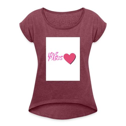 love paris rose - T-shirt à manches retroussées Femme