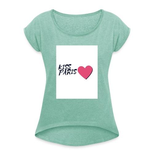 kiss paris - T-shirt à manches retroussées Femme