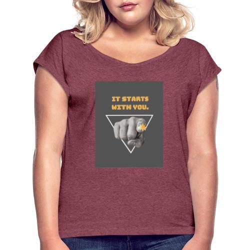 t-shirt tendence otone-hiver 2019-2 - T-shirt à manches retroussées Femme