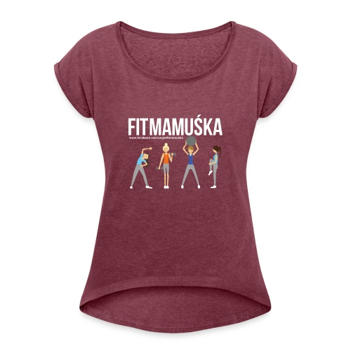 Fitmamuśka - Koszulka Czarna - Koszulka damska z lekko podwiniętymi rękawami