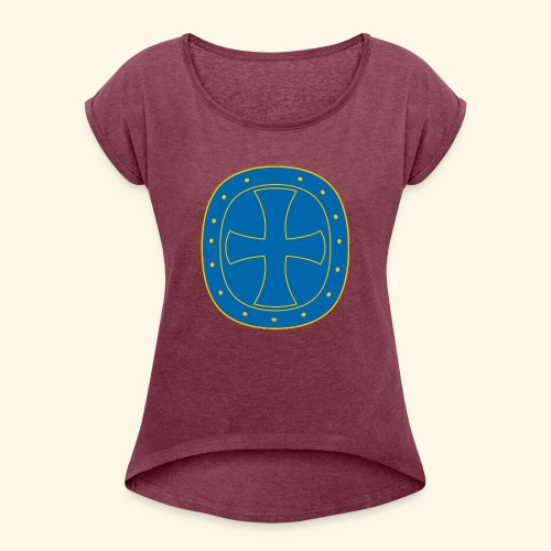 Ritter Kreuz - Frauen T-Shirt mit gerollten Ärmeln