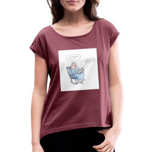 tafskärring - T-shirt med upprullade ärmar dam