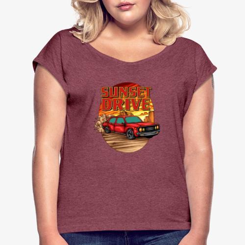Sunset Drive - Frauen T-Shirt mit gerollten Ärmeln