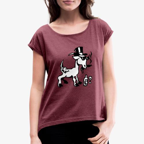 Bock auf Shirts ohne Text schwarz und weiß gefärbt - Frauen T-Shirt mit gerollten Ärmeln