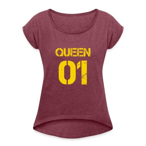 Queen - Koszulka damska z lekko podwiniętymi rękawami