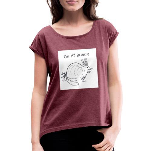 Pupuni - Naisten T-paita, jossa rullatut hihat