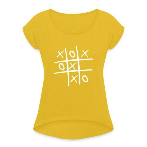 game boter kaas en eieren - Vrouwen T-shirt met opgerolde mouwen