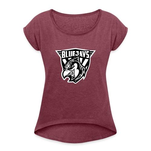 BLUEJAYS Logo schwarz / weiß - Frauen T-Shirt mit gerollten Ärmeln
