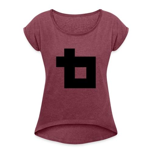 Lunatics logga,svart - T-shirt med upprullade ärmar dam