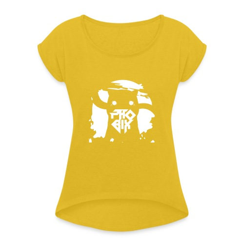 white 01big png - Frauen T-Shirt mit gerollten Ärmeln
