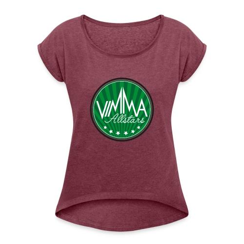 Vimma t-paita, naisten - Naisten T-paita, jossa rullatut hihat