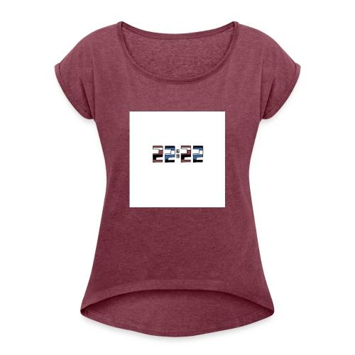 22:22 buttons - Vrouwen T-shirt met opgerolde mouwen