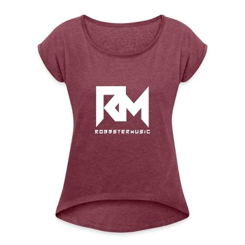 Original RM-Logo White - Frauen T-Shirt mit gerollten Ärmeln