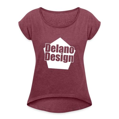 DelanoDesign - Logo Wit - Vrouwen T-shirt met opgerolde mouwen