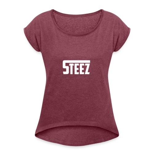 Steez tshirt name - Vrouwen T-shirt met opgerolde mouwen