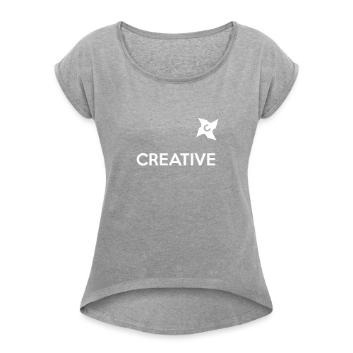 Creative simple black and white shirt - Dame T-shirt med rulleærmer