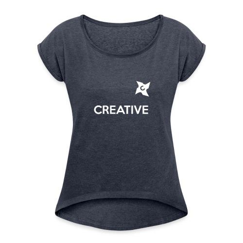 Creative simple black and white shirt - Dame T-shirt med rulleærmer
