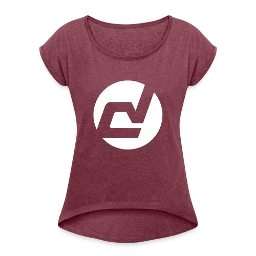 logo blanc - T-shirt à manches retroussées Femme