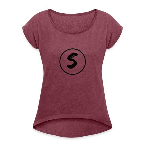 s - Dame T-shirt med rulleærmer