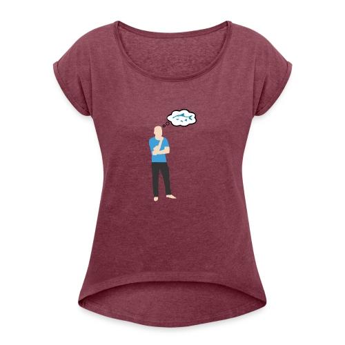 Man i tankar: Fisk - T-shirt med upprullade ärmar dam