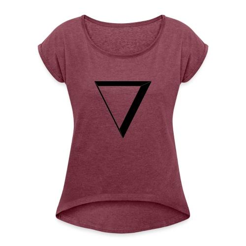 black triangle - Koszulka damska z lekko podwiniętymi rękawami