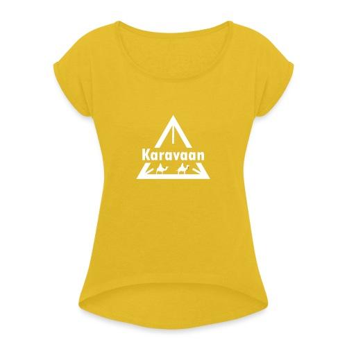 Karavaan White (High Res) - Vrouwen T-shirt met opgerolde mouwen