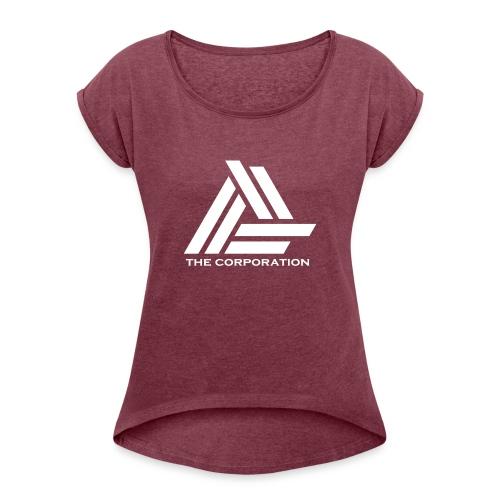 wit metnaam keertwee png - Women's T-Shirt with rolled up sleeves