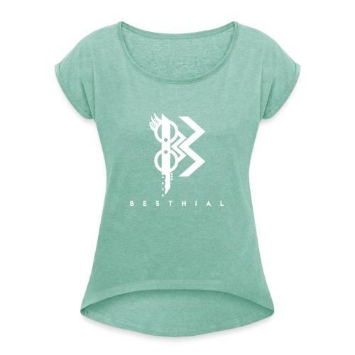 White V - T-shirt à manches retroussées Femme