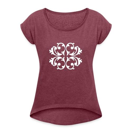 Blumen Muster - Außergewöhnliches Design - Frauen T-Shirt mit gerollten Ärmeln