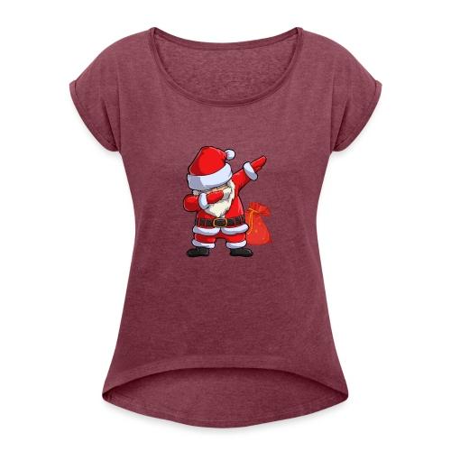 Weihnachtsmann Santa Claus - Frauen T-Shirt mit gerollten Ärmeln