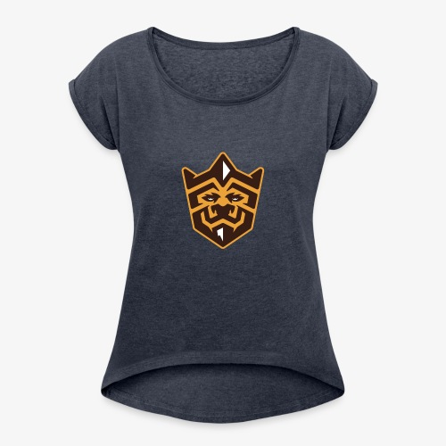 3D Lion Colour - Women's T-Shirt with rolled up sleeves