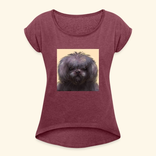 Dog Button - T-shirt med upprullade ärmar dam