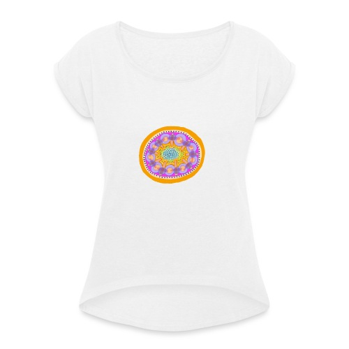 Mandala Pizza - Women's T-Shirt with rolled up sleeves