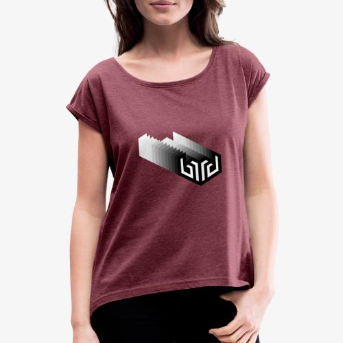 bird logo fade, white - Women's T-Shirt with rolled up sleeves